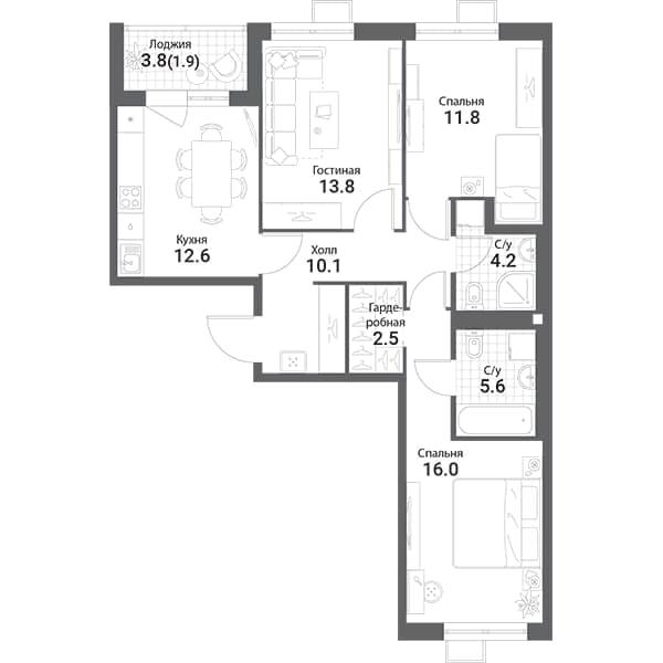 3-к.кв, 78.7 м²