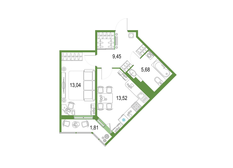 1-комнатная, 43.5 м²– 2