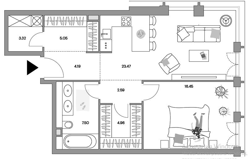 2Е-комнатная, 67.15 м²– 2