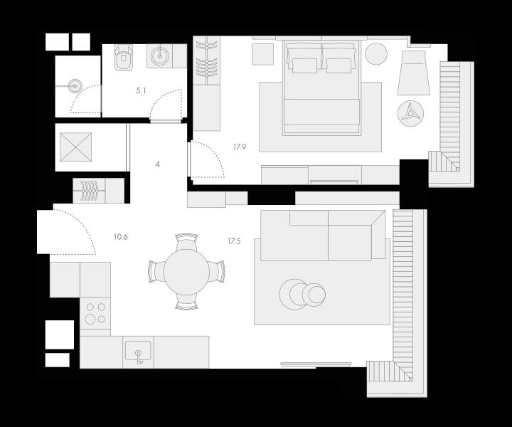 2Е-комнатная, 55.1 м²– 2