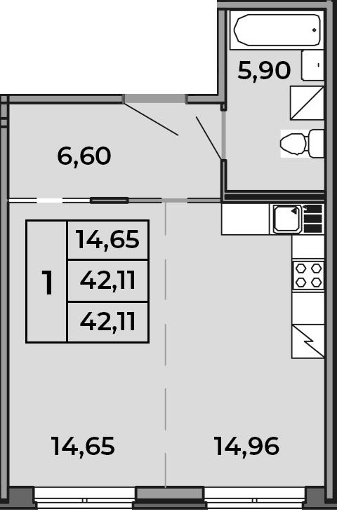 Студия, 42.11 м²