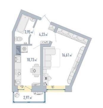 1-комнатная, 36.41 м²– 2