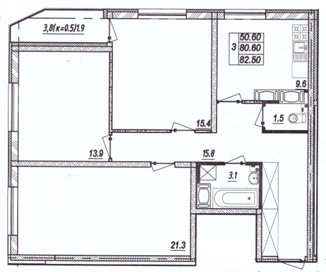 3-к.кв, 84.4 м²