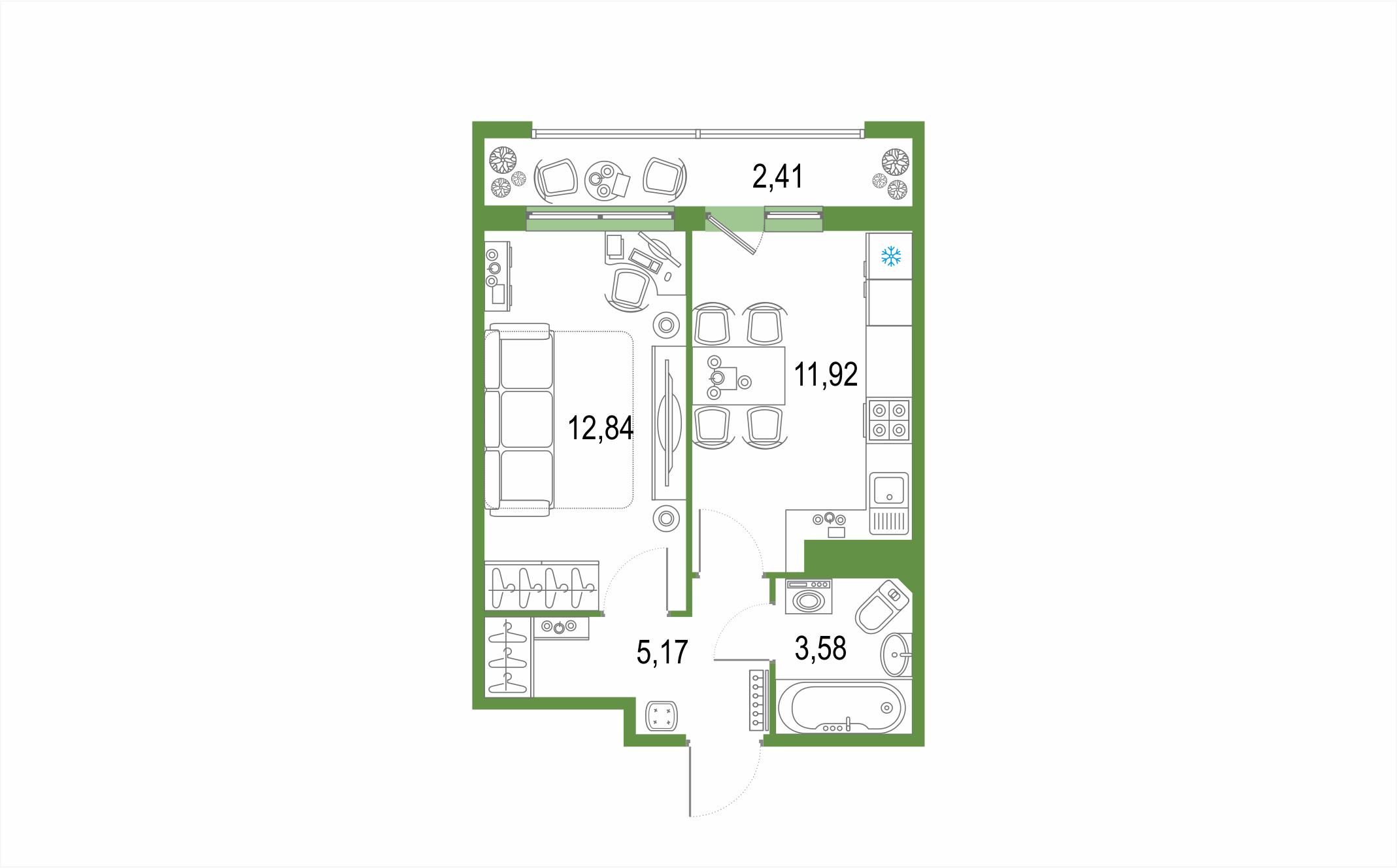 1-комнатная, 35.92 м²– 2