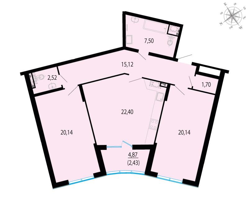 3-к.кв (евро), 94.38 м²