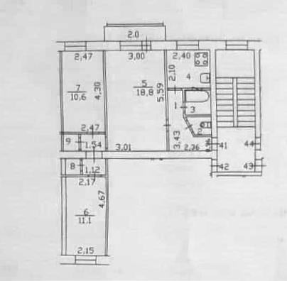 3-к.кв, 53.2 м²