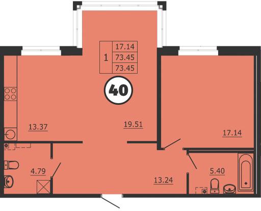 2-к.кв (евро), 73.45 м²