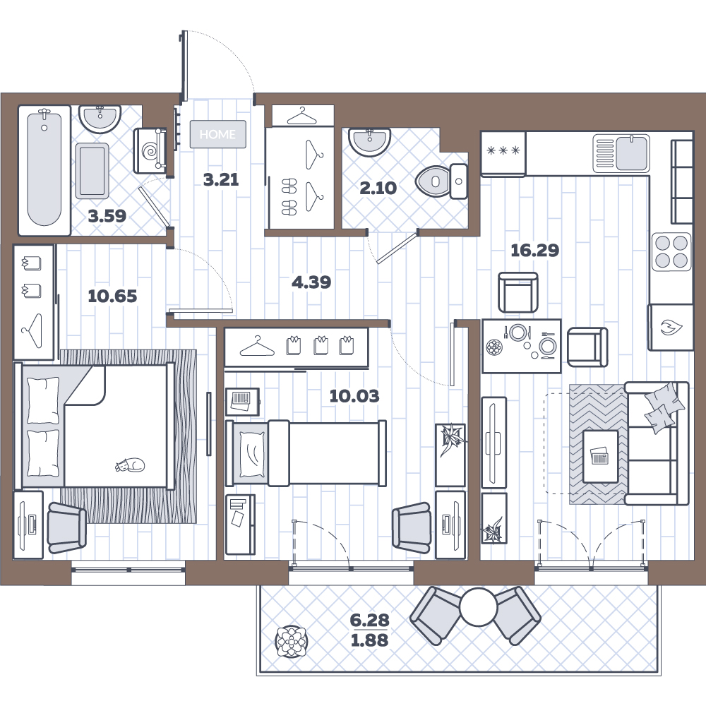 3-к.кв (евро), 56.53 м²