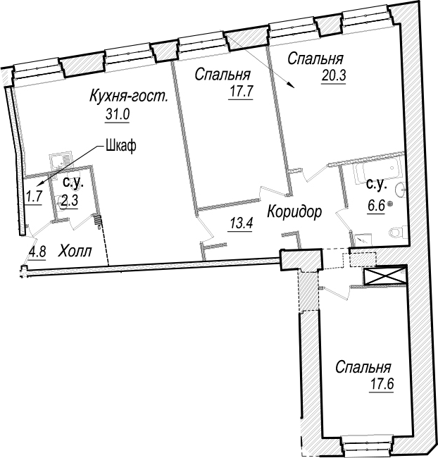 4Е-к.кв, 115.4 м²