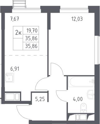 2Е-комнатная, 35.86 м²– 2