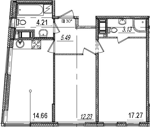 3Е-комнатная, 56.99 м²– 2