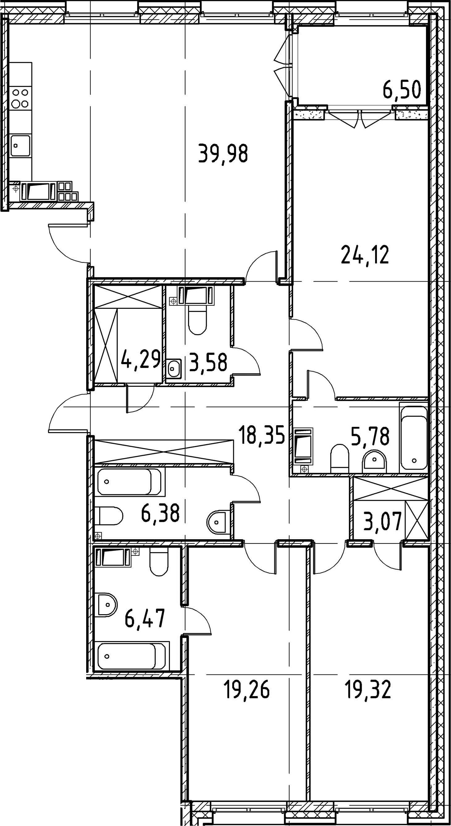 3-комнатная, 150.6 м²– 2