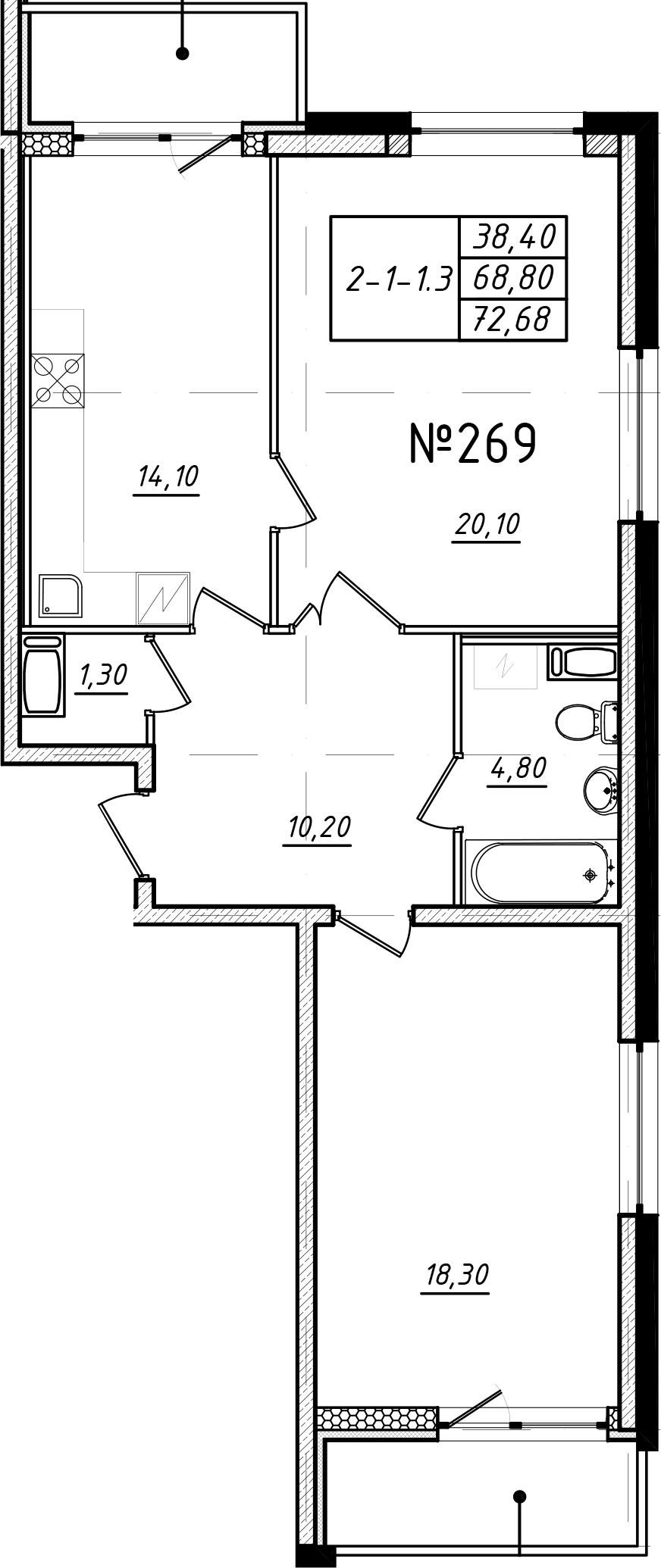 2-к.кв, 76.56 м²