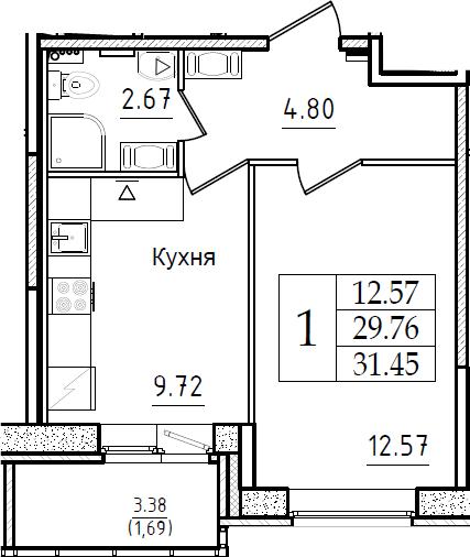 1-к.кв, 31.45 м², 10 этаж
