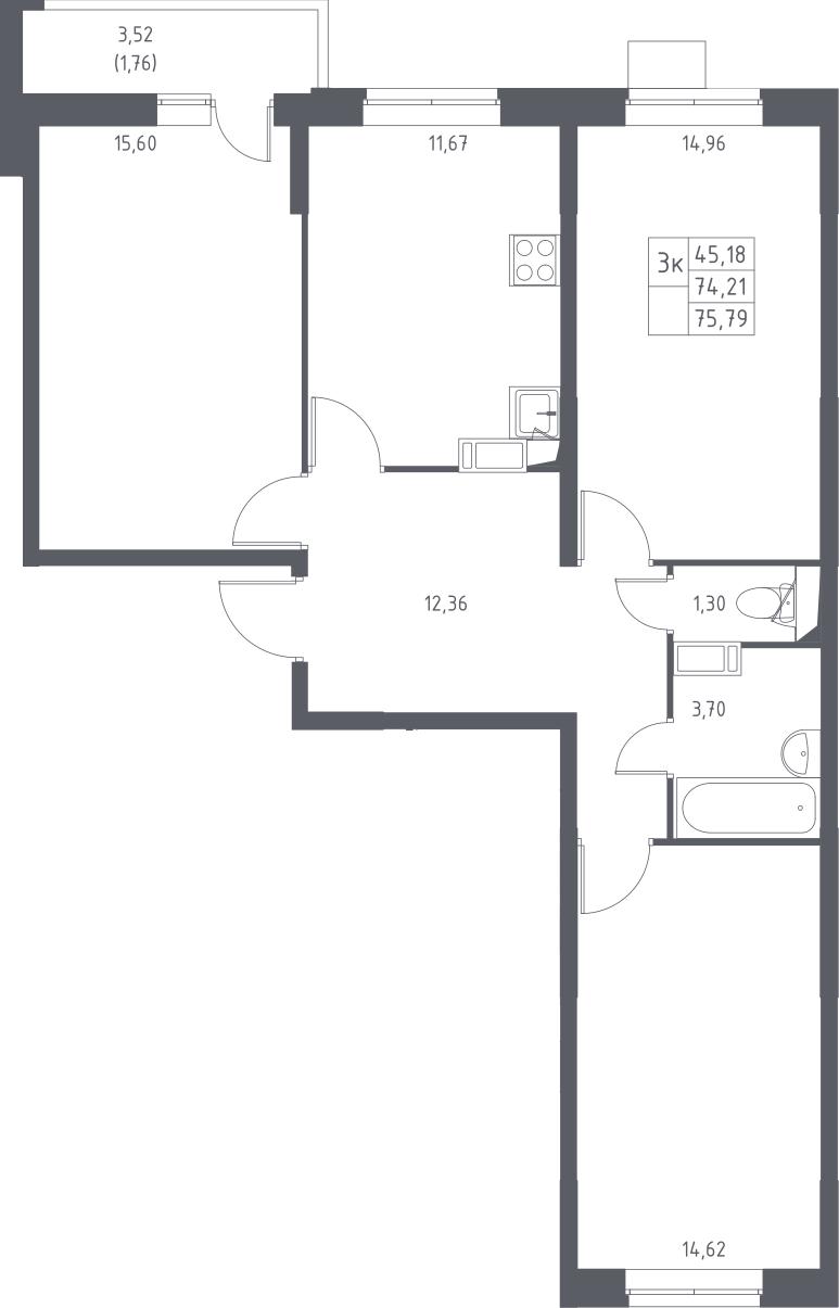 3-к.кв, 75.97 м²