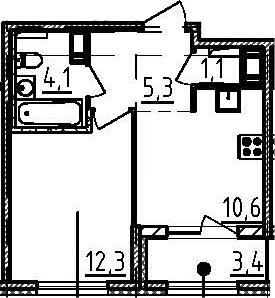 1-к.кв, 35.1 м², от 8 этажа