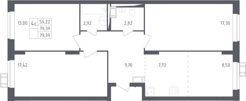 4Е-к.кв, 79.39 м², 17 этаж