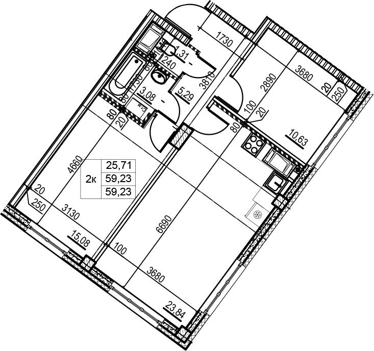 3Е-к.кв, 59.23 м², 3 этаж