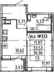 1-к.кв, 36.67 м²