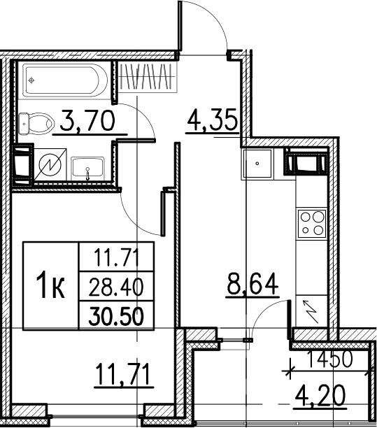 1-комнатная, 30.5 м²– 2