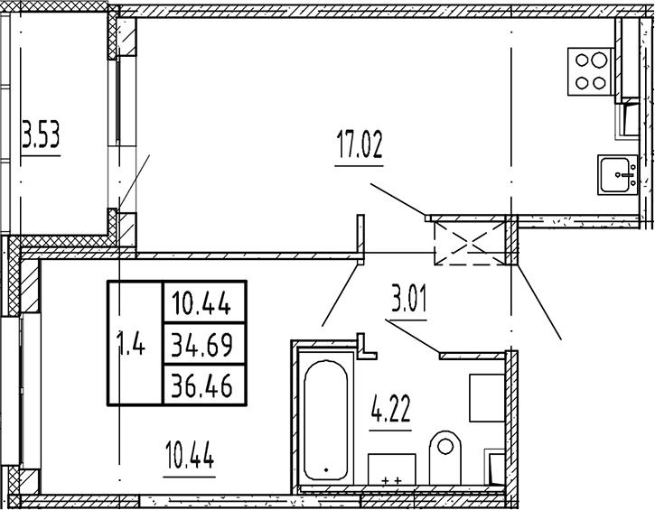 2Е-комнатная, 34.69 м²– 2