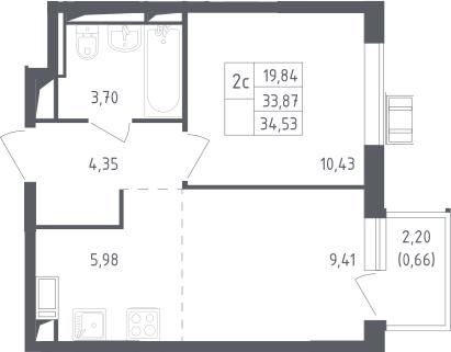 2Е-комнатная квартира, 34.53 м², 17 этаж – Планировка