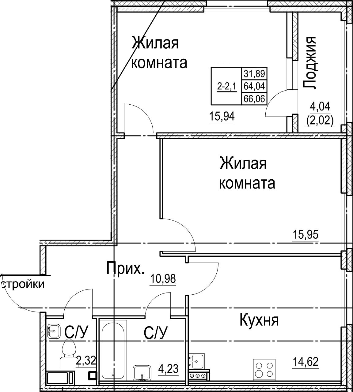 2-комнатная, 66.06 м²– 2