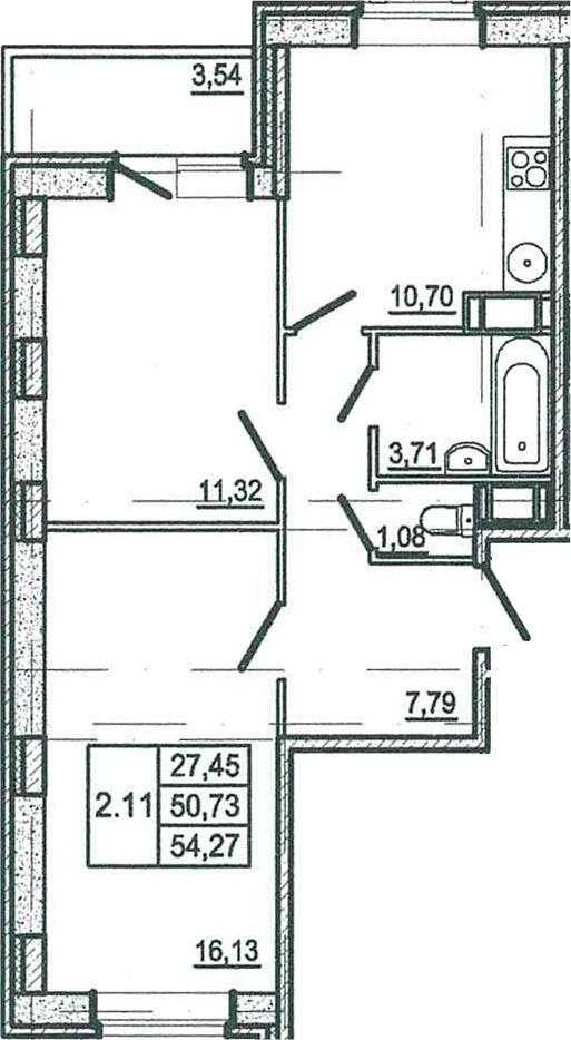 2-к.кв, 54.27 м²