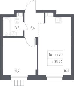1-комнатная, 33.4 м²– 2
