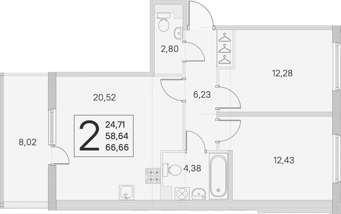 3Е-к.кв, 58.64 м², 1 этаж