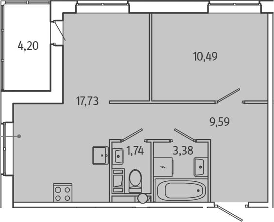 2Е-комнатная, 45.03 м²– 2