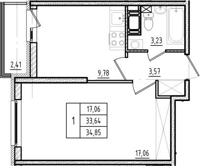 1-комнатная, 33.64 м²– 2