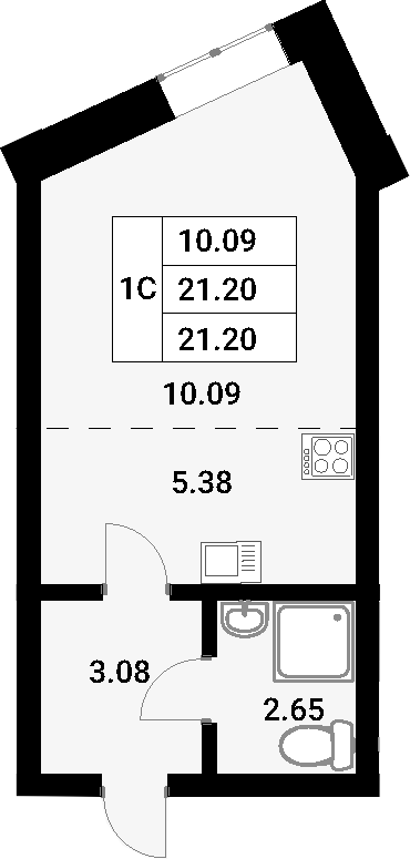 Студия, 21.2 м²