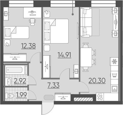 3Е-к.кв, 59.83 м², 2 этаж