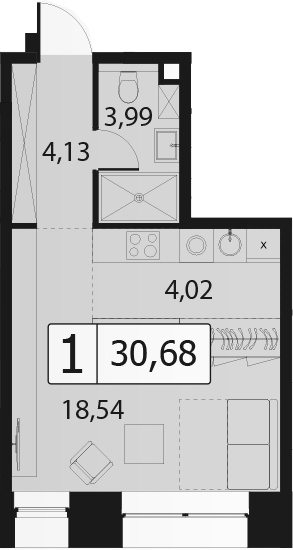 Студия, 30.68 м²
