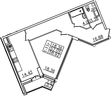 1-к.кв, 60.79 м²