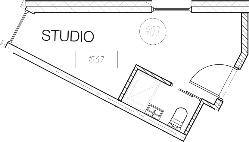 Студия, 15.67 м²