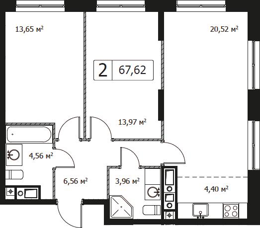 3Е-комнатная, 67.62 м²– 2