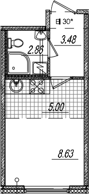 Студия, 19.97 м²– 2
