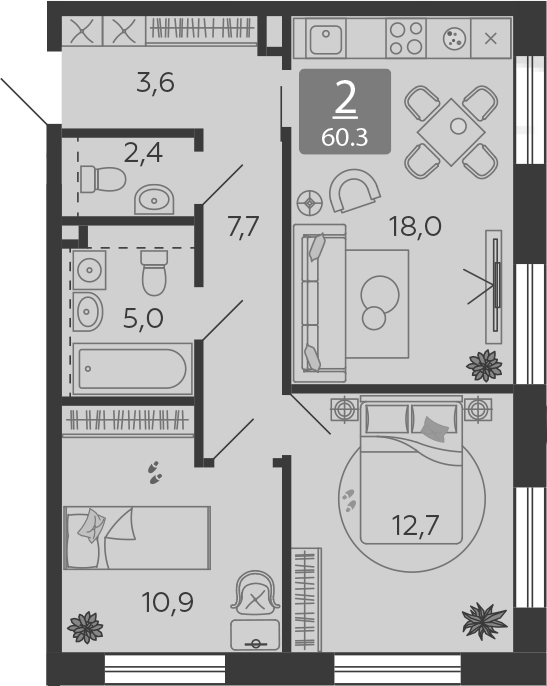 3Е-к.кв, 60.3 м²