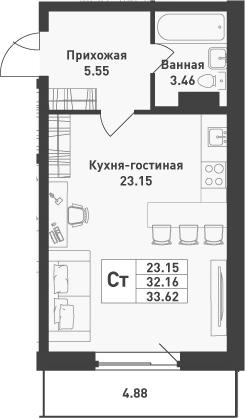 Студия, 33.62 м², 3 этаж