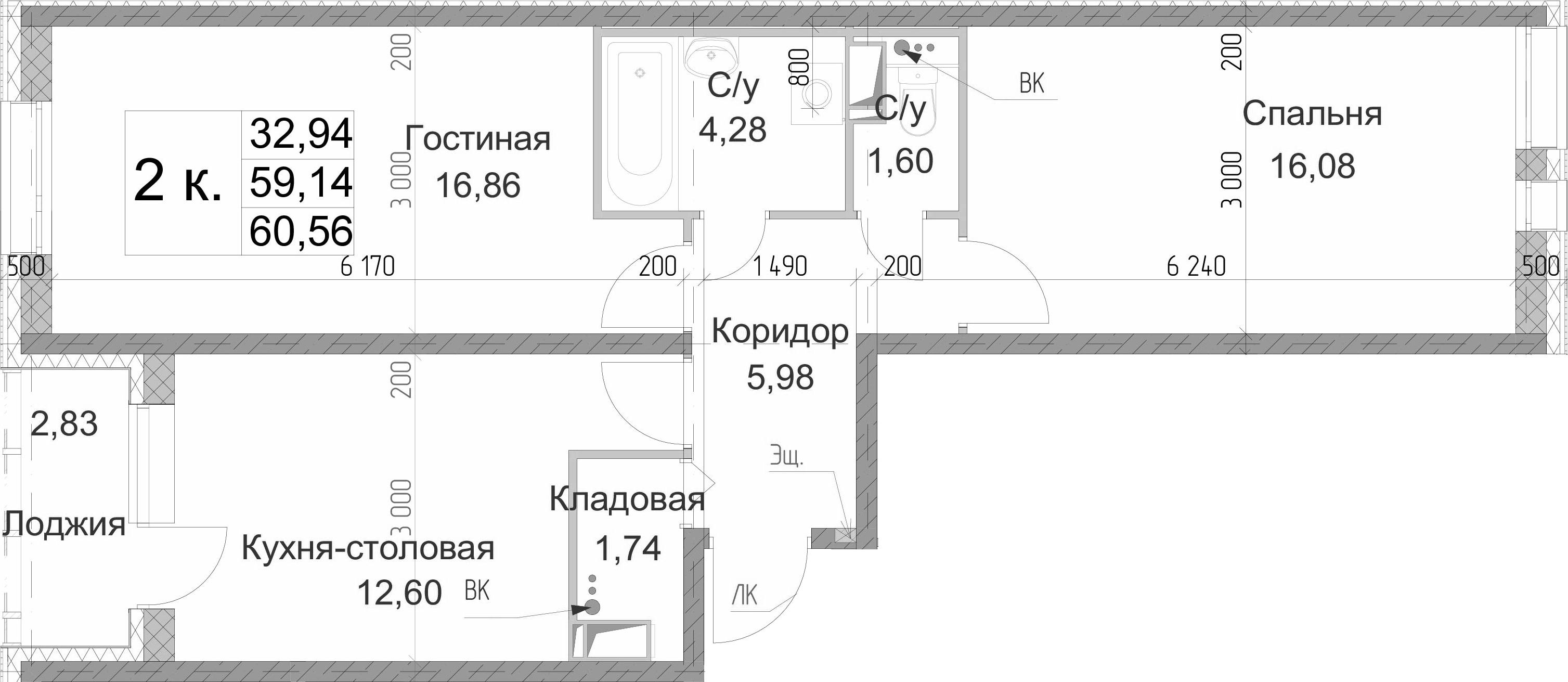 2-к.кв, 60.56 м²
