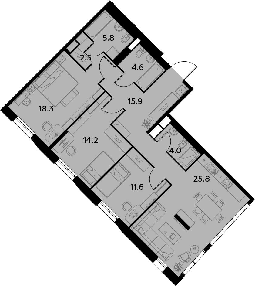 4Е-комнатная, 102.5 м²– 2