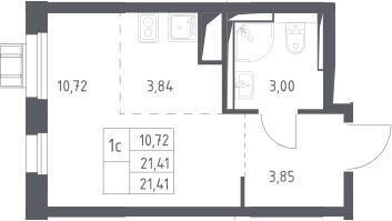 Студия, 21.41 м²