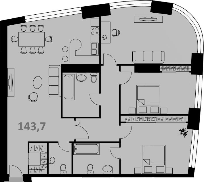 Своб. план., 143 м², от 26 этажа