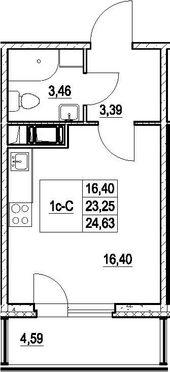 Студия, 27.84 м²