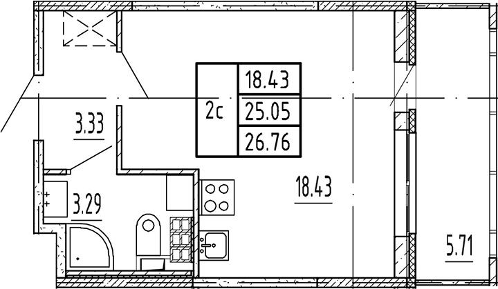 Студия, 25.05 м²– 2