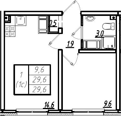 2Е-комнатная, 29.6 м²– 2