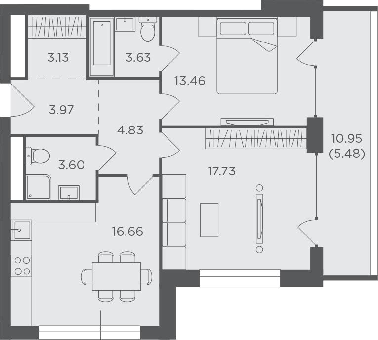 2-комнатная, 72.49 м²– 2