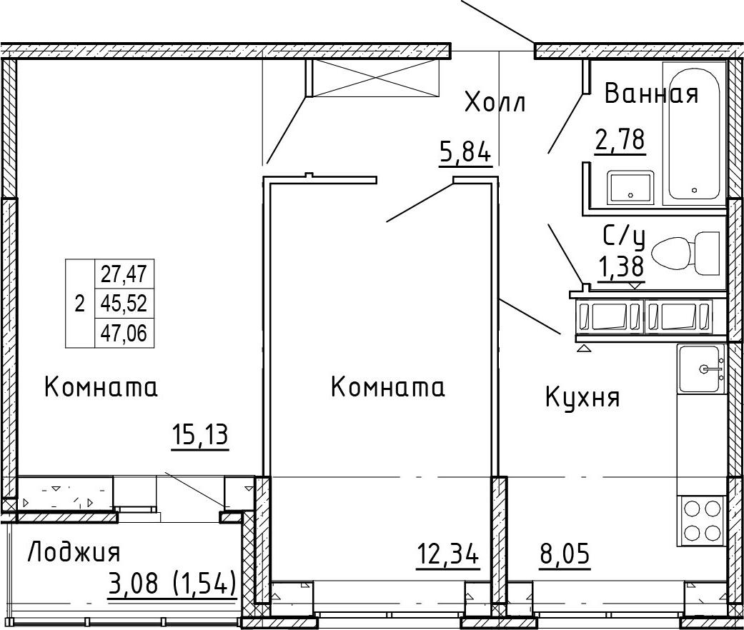 2-к.кв, 48.6 м²